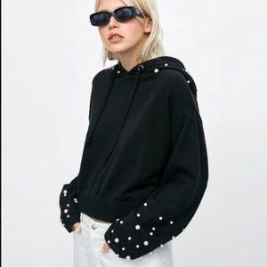 Zara Pearl Knitwear Hoodie